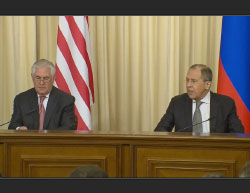 Secretary of State Tillerson and Foreign Minister Lavrov at the press conference (US Department of State website, April 12, 2017)