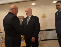 Iraj Masjedi, Iran's new ambassador to Iraq, presents his credentials to the Iraqi foreign minister (IRNA, April 19, 2017).
