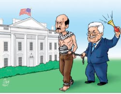 Hamas cartoon mocks Mahmoud Abbas for planning to exploit the Palestinian prisoners' hunger strike for his own political needs during his visit to the United States on May 3, 2017 (al-Risalah, April 24, 2017).