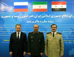 The defense ministers of Russia, Iran and Syria meet in Moscow (Tasnim, April 27, 2017).
