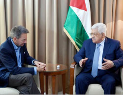 Mahmoud Abbas meets with International Committee of the Red Cross chairman Peter Maurer in Ramallah (Wafa, May 19, 2017).