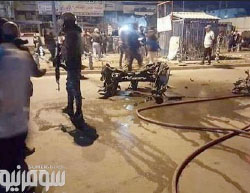 The scene of the attack at the Al-Dora neighborhood in Baghdad (Sumar News, May 19, 2017)
