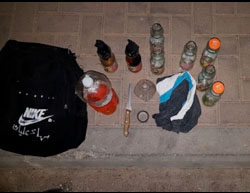 Contents of the bag belonging to the two Palestinians (Israel Police Force spokesman's unit, May 30, 2017).