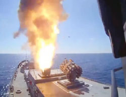 Photo from a video showing the launch of the cruise missiles (website of the Russian Defense Ministry, May 30, 2017)