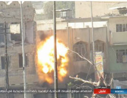 Missile which, as claimed by ISIS, hits the Iraqi police forces in west Mosul (Haqq, May 28, 2017).