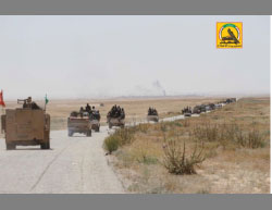 Column of mechanized Popular Mobilization forces near the Iraqi-Syrian border (Twitter account of the Popular Mobilization Spokesperson's Office, May 30, 2017)