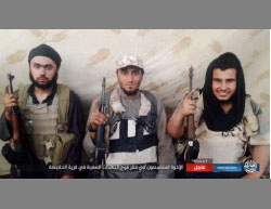 The three operatives who carried out the suicide bombing attack at the village of Halabsa, north of Baghdad: Abu Omar al-Suri, Abu Mus'ab al-Idlibi, and Abu Omar Bahra (Haqq, June 4, 2017)