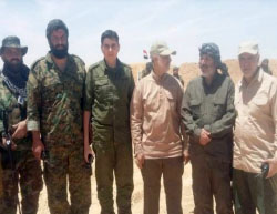 Qassem Soleimani (third from the right) with the Iraqi Shiite militia fighters (Twitter, May 29, 2017).