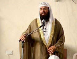 Turki al-Binali delivering one of his sermons in Sirte (Haqq, June 9, 2017)