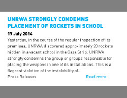 UNRWA condemnation (unrwa.org, July 17, 2014)