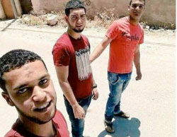 An old picture of the three terrorists (Palinfo Twitter account, June 18, 2017).