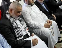 Ismail Haniyeh visits the mourning tent erected in Gaza City for the Egyptian soldiers killed in the terrorist attack (Palinfo Twitter account, July 8, 2017).