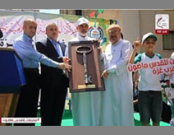 The opening of the summer camp in the western part of Gaza City (Siraj Lili'am, July 9, 2017).