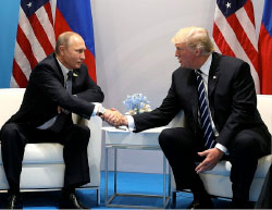 Meeting between Donald Trump and Vladimir Putin at the G20 summit in Hamburg, during which they agreed on the de-escalation agreement (The Russian President's website, July 7, 2017)