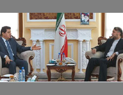 The advisor to the speaker of the Majlis (right) meets with the Syrian ambassador to Tehran (Press TV, July 8, 2017).