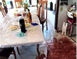 The aftermath of the stabbing attack in the community of Halamish northwest of Ramallah, where three members of a family were murdered by a Palestinian in retaliation for