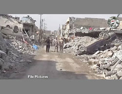Debris of a street in west Mosul.