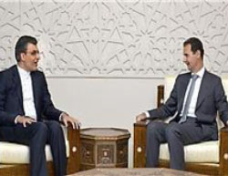 Ansari (left) meets with the Syrian president (Fars, July 20, 2017).