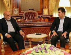The Iranian ambassador to Iraq (left) meets with the prime minister of the Iraqi Kurdistan regional government (IRNA, July 17, 2017).
