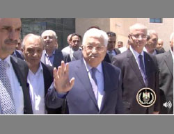 Mahmoud Abbas leaves the hospital in Ramallah accompanied by an entourage of senior PA figures (Facebook page of Mahmoud Abbas, July 29, 2017).