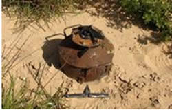 The roadside bomb uncovered and neutralized near the security