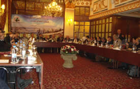 The pre-march meeting in Beirut