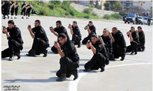 Hamas security forces at a training exercise