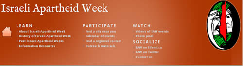 The apartheid week website (January 15, 2012)