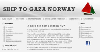 Raising funds for the flotilla on the Norwegian website