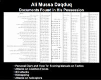 Documents found in Ali Daqduq's possession indicating his intention to attack the coalition