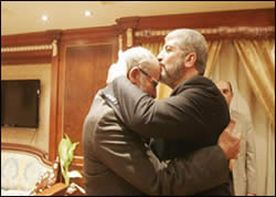 Khaled Mashaal, head of Hamas' political bureau, and Mohammed Badie, the Muslim