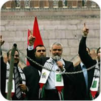 Ismail Haniya speaks at the rally marking the 24th anniversary of the founding of Hamas