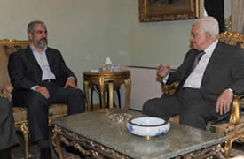 Mahmoud Abbas and Khaled Mashaal in Cairo