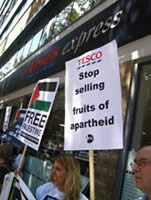 The PSC's anti-Tesco demonstration in Russel Square (Israel Channel 10 TV, August 25, 2011)