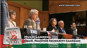 Hugh Lenning at an anti-Israeli rally for Gaza (YouTube, January 24, 2011)