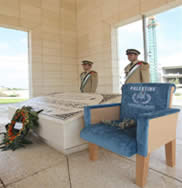 The chair next to Yasser Arafat's grave in Ramallah (Wafa News Agency, September 5, 2011)