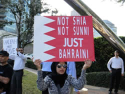 The flag of Bahrain carried in the demonstration