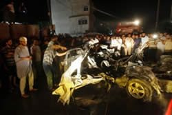 Car of Ismail al-Asmar, hit by the Israeli Air Force (Photo from the Jerusalem Brigades website, August 25, 2011).