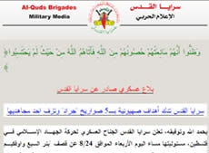 Claiming responsibility for the Grad rockets fired at Beersheba, Ofakim, Ashqelon and the population centers neat the Gaza Strip on the night of August 24 (Jerusalem Brigades website, August 25, 2011).