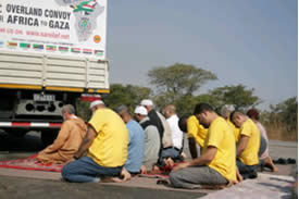 South African convoy activists at prayer (From the convoy's website, August 4, 2011).