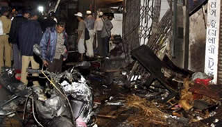 One of the explosion sites in Mumbai