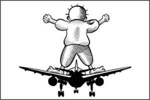 Cartoon from the FPM website: initiative to send passengers to Israel's Ben-Gurion International Airport