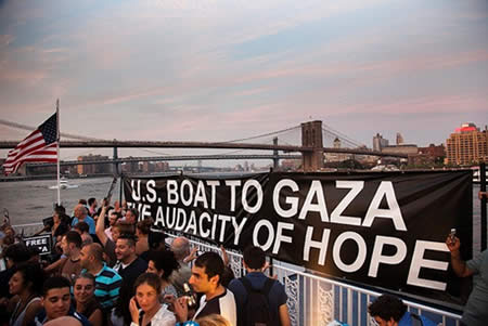 The American boat, The Audacity of Hope, expected to participate in the flotilla