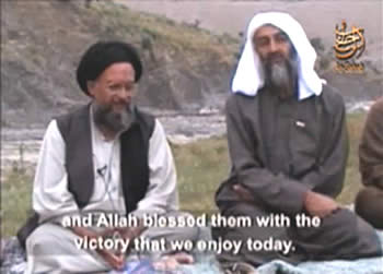 Ayman al-Zawahiri, sitting next to Osama bin Laden