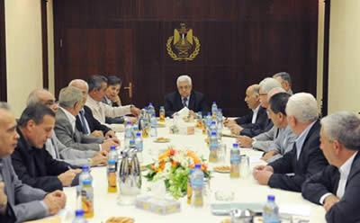 Palestinian Authority Chairman Mahmoud Abbas chairs the Fatah Central Committee meeting which presented Salam Fayyad as its candidate to head the unity government