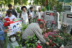 The Iranian delegation visiting the graveyard where the Mavi Marmara shaheeds are buried.