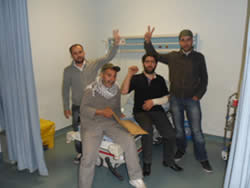 Turkish activists in a hospital after suffering injuries in the confrontation