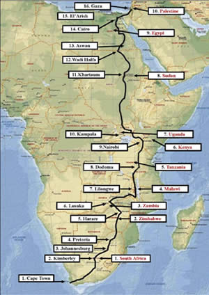 Overland route from Cape Town to the Gaza Strip