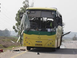 The school bus attacked with an anti-tank missile