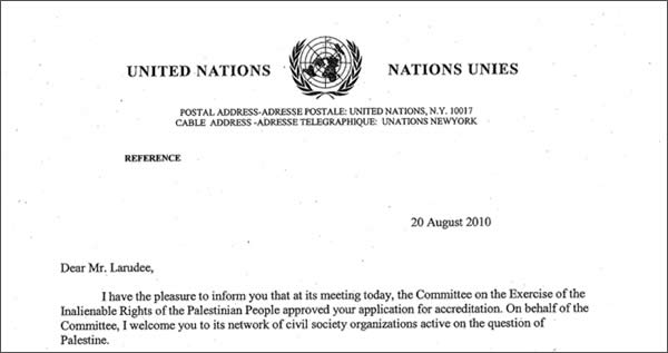 The letterhead from the UN committee accrediting the FPM.